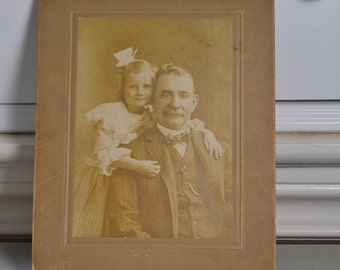 Cabinet Card Vintage Photo Victorian Portrait of Father and Daughter