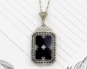Art Deco 14k Filigree Black Onyx & Diamond Lavaliere Necklace, Antique White Gold, Gothic Bride Bridal Statement Pendant, Holiday Jewelry
