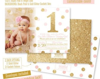 First Birthday Girl Invitations - First birthday invitations girl pink and gold