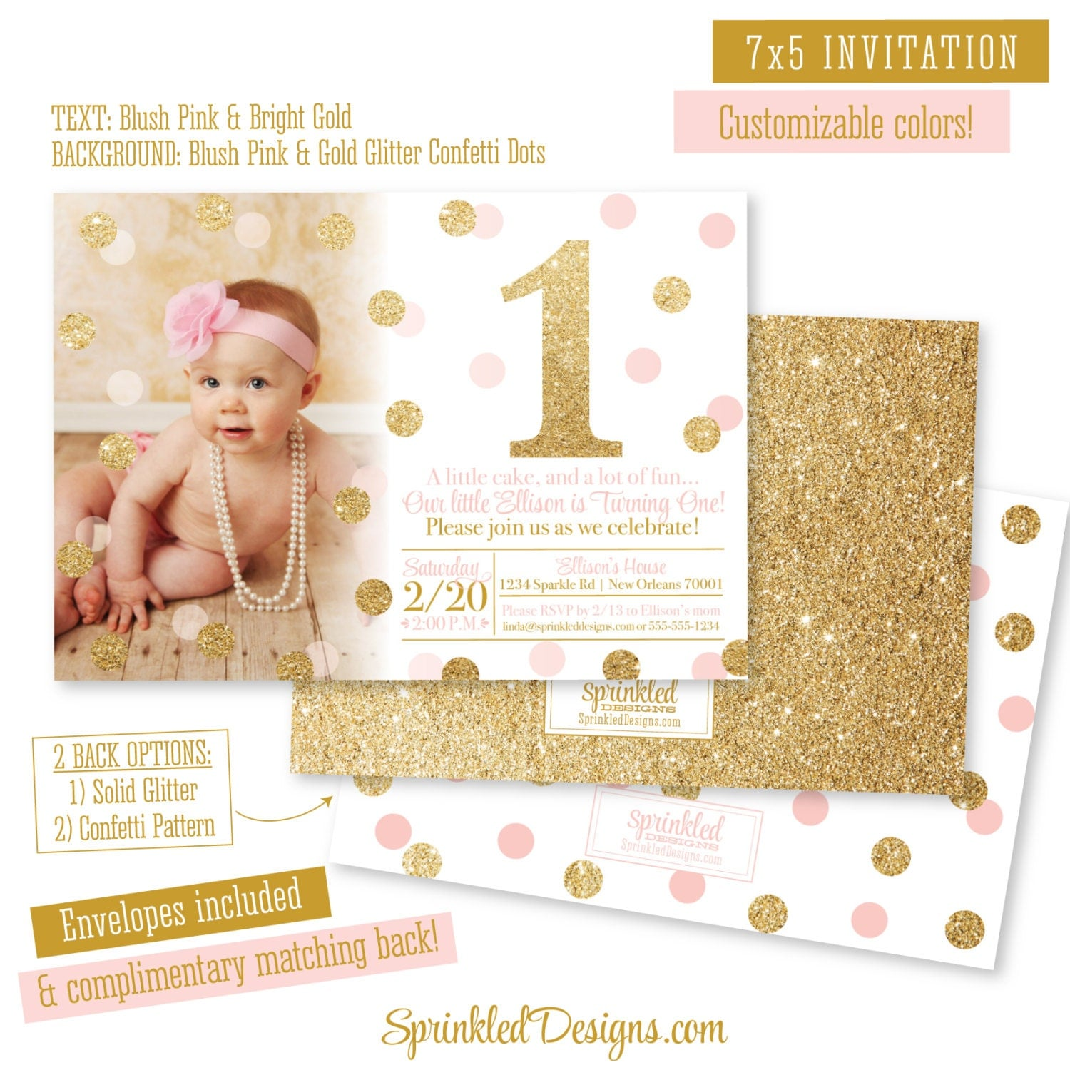 Pink and Gold First Birthday Girl Invitation Card A