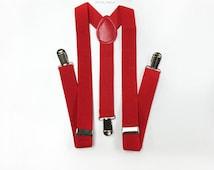 KID's red suspenders, infant suspenders, toddler's suspenders, baby boy clothes, red suspender, red suspenders, baby's red suspenders