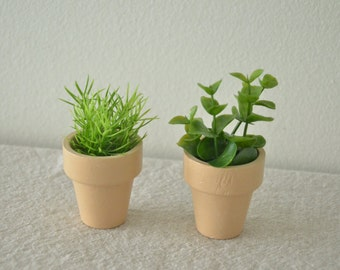 "Doll Furniture -- Miniature Potted Plants (2) -- fits 18"" dolls -- FREE SHIPPING"