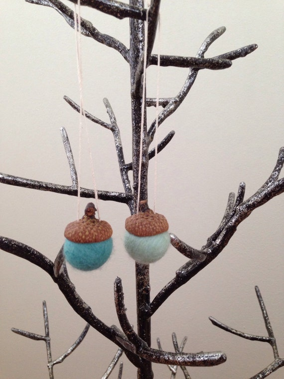 Felted wool ornaments in two shades of green