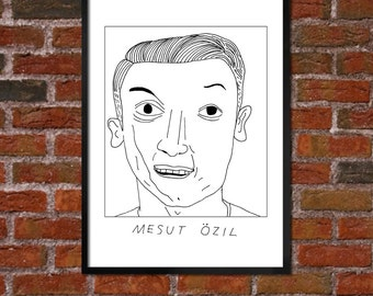 Badly Drawn Mesut Ozil - Arsenal FC Football Poster