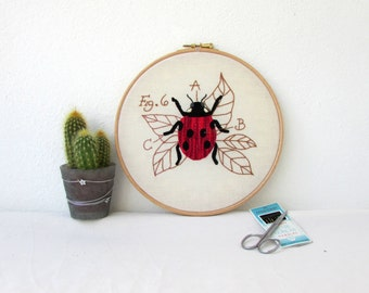 Ladybird hand embroidery, insect embroidery hoop art, insect wall art, textile art, entomology gift for scientist handmade in the UK