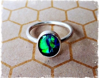 Sterling Silver Opal Ring - Australian Opal - Size 9 1/4 (US) S (UK)