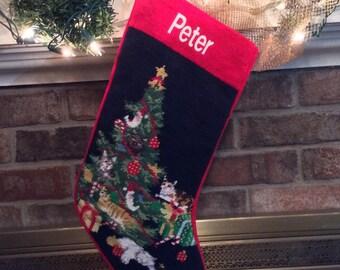 Cat Needlepoint Christmas Stocking, Personalized Christmas stockings, Cat stocking, Needlepoint stocking, Cat needlepoint stocking, Cat