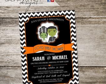Halloween Baby Shower Invitation • Costume Party Baby Shower Invitation • Halloween Co-Ed Baby Shower Invitation • Frankenstein Baby