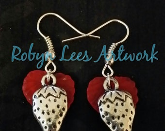 Silver Strawberry Earrings with Frosted Red Leaves