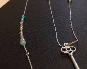 Wintery key pendant necklace