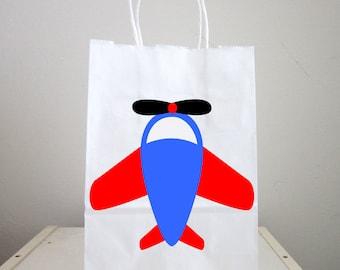 Airplane Goody Bags, Airplane Favor Bags, Plane Goody Bags, Plane Favor Bags, Red Blue Stars