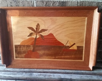 Scenic Palm Marquetry Wood Serving Tray