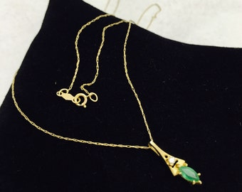 Vintage 10K Gold Necklace with Diamond and Emerald Pendant Necklace