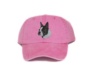 Boston terrier embroidered hat, baseball cap, dog lover gift, pet mom cap, dog dad hat, mom, gift for pet lover, dog agility, dog lover hat