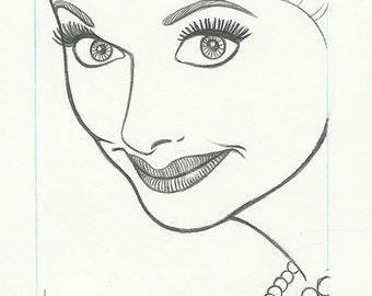 Less stylized LUCILLE BALL original pencil drawing for the US postage stamp