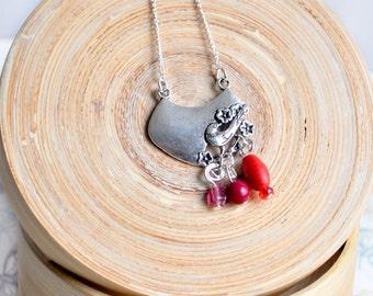 Silver bird necklace, red bead necklace, bird charm necklace, bird pendant, silver charm necklace, red statement necklace, bird jewellery