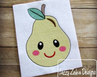 Pear 104 with Face Sketch Embroidery Design - pear sketch Embroidery Design - fruit sketch Embroidery Design