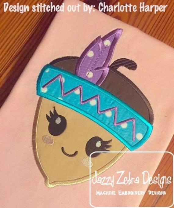 Acorn Girl Indian Applique Embroidery Design - nut appliqué design - acorn appliqué design - girl appliqué design - indian appliqué design