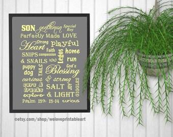 Baby Boy Nursery Ideas, Christian Gift, Nursery Wall Art, Nursery Decor, Art Print, Yellow and Gray, Christian Decor, Wall Decor, Son Art