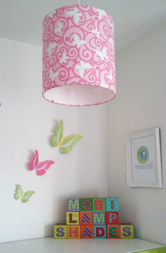 pink butterfly lamp shade pink nursery decor girl butterfly gifts. Black Bedroom Furniture Sets. Home Design Ideas