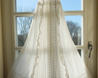 Heirloom Antique French Christening Gown, christening robe, baptism, from 1800's