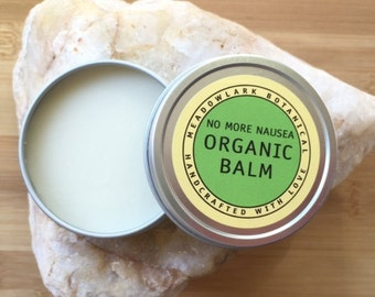 Organic Nausea Balm w. Peppermint + Ginger | Aromatherapy for Morning Sickness, Upset Stomach, Motion Sickness | Essential Oils Balm    4 oz