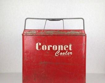 Vintage Cooler Metal Cooler Coronet Cooler Red Vintage 1950s Metal Outdoor Cooler Coronet Hamilton Skotch Corp Hamilton Ohio