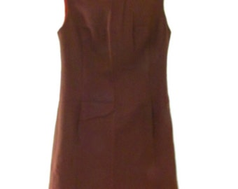 Vintage 60s Brown Pendleton Wool Shift Dress Sz M US 6 8 Aus 10 12