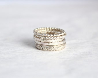 5 Sterling Silver Ring Set