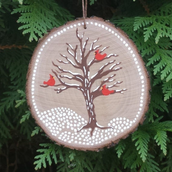 winter birds wood slice ornament bird ornament tree. Black Bedroom Furniture Sets. Home Design Ideas