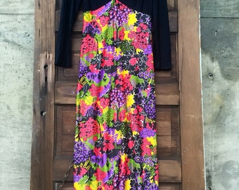 Vintage 60's Mod Black and Novelty Tree Print Long Sleeve Maxi Dress Groovy Gown