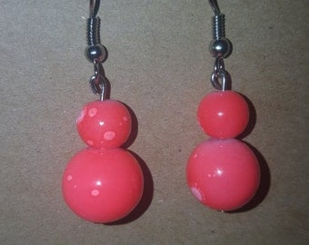 Coral watermarked beaded earrings handmade