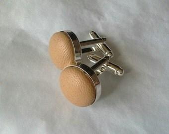 camel / beige leather cufflinks