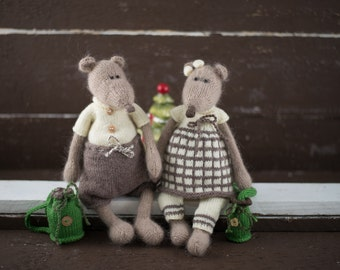 Toys Mice Knitting Patterns - Sonia and Boris, the Happy Mice /Knitting Pattern Toy /Valentines Day gift /knitted animal /knitted mice