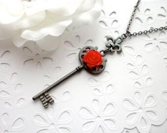 Red Rose Key Necklace, Fleur De Lis, Skeleton Key Necklace, Steampunk Key Pendant, Red Rose Key to My Heart Necklaces, Gothic Gift for Her