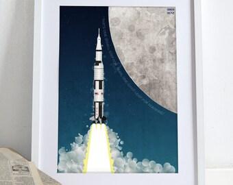 Apollo Space Rocket Moon Poster Wall Art Print