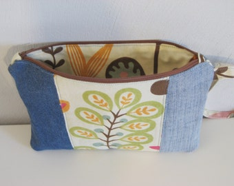 repurposed jeans bag,flower accent, pencil pouch,zippered  pouch, modern denim pouch,recycled jeans, reused denim, e-reader bag, nook,kindle