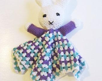 crochet bunny, Easter Bunny Snuggly, stuffed bunny, rabbit plushy, baby lovey, rabbit stuffy, purple cotton bunny, Easter basket, bunny lovy