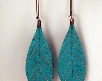 Long Patina Boho Turquoise Leaf Copper Earrings