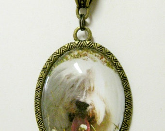 English sheepdog with wildflowers pendant with chain - DAP09-063