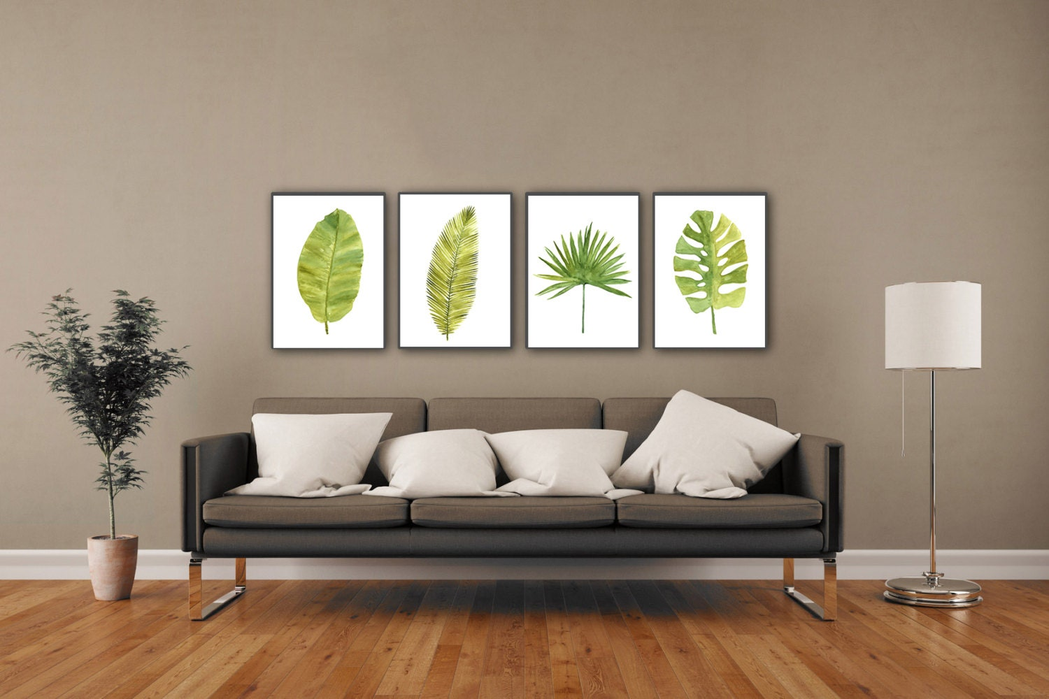 Palm leaf watercolor painting abstract leaves minimalist fine for Minimalist art decor