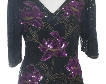 Vintage 1980's Tricoville Floral Sequin Top 14 - www.brickvintage.com