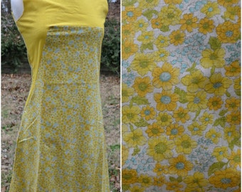 Vintage handmade yellow floral shift dress