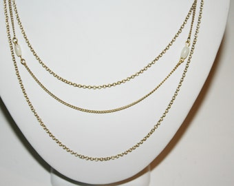 """Vintage Avon Signed Gold Toned Triple Stand Necklace with Mother of Pearl Beads 15.5"""""""