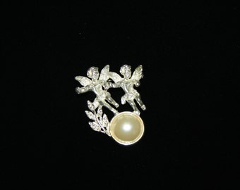 Vintage Silver Cupid and Pearl Brooch / Pin 1.75 inches