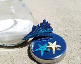 Kyanite Wave Crystal Oceanarium - Blue Titanium Aura - Mini Starfish & White Sand - Atlantis Lemuria Mini Collector Water Surfer Terrarium