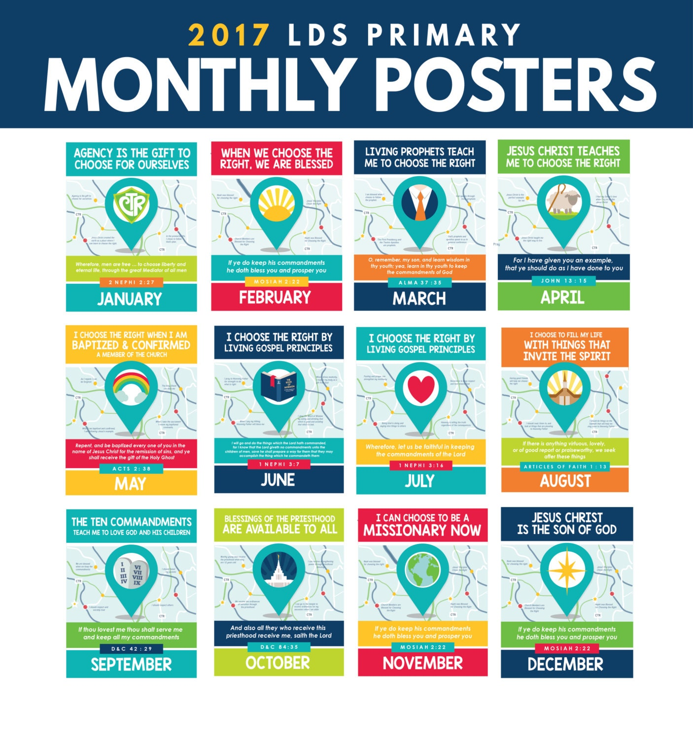 2017 LDS Primary Monthly Theme Posters from ...