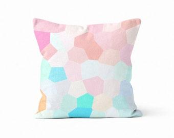 Throw Pillow Cover, Geometric Pillow Cover, Pastel Pillow Cover, Nursery Decor, Mosaic Pillow Cover, Home Decor  Pink Aqua Orange Peach