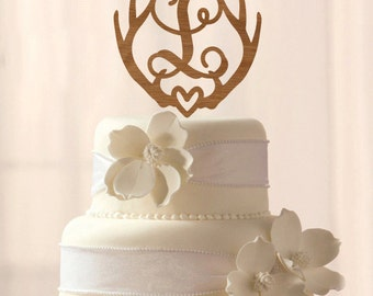 Any Letter! Wood Deer Antler Initial cake topper