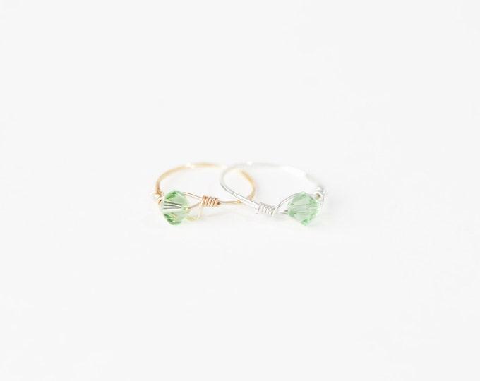 August Birthstone Ring - Swarovski Crystal Birthstone Ring - August Birthstone Crystal Bead Ring-Silver Birthstone Ring-Gold Birthstone Ring